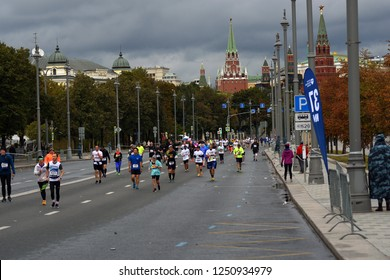MOSCOW - SEPTEMBER 23, 2018: Many people run 6 Moscow marathon on the streets on Moscow city.