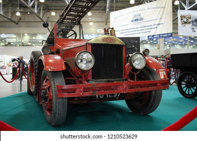 Moscow - September 29, 2012: Dennis G-type 1929 fire truck at the international largest exhibition of vintage cars and technical Antiques. Public-event.