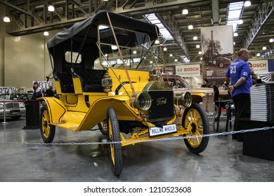 Moscow - September 29, 2012: Ford T yellow at the international largest exhibition of vintage cars and technical Antiques. Public-event.