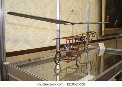 Moscow - September 29, 2012: Model of a single-screw helicopter B.N. Yuriev 1912 at the international largest exhibition of vintage cars and technical Antiques. Public-event.
