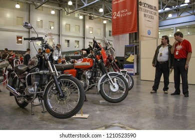 Moscow - September 29, 2012: Motorcycles Jawa at the international largest exhibition of vintage cars and technical Antiques. Public-event.