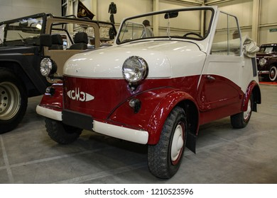 Moscow - September 29, 2012: SMZ-S3A made in USSR 1958 cycle car microcar specially designed for disabled drivers at the largest exhibition of vintage cars and technical Antiques. Public-event.