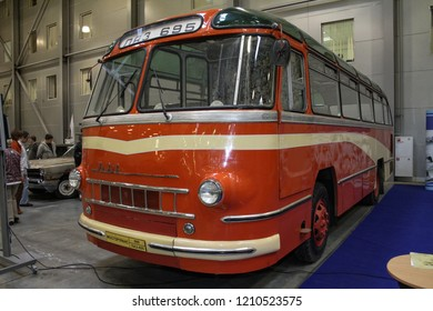 Moscow - September 29, 2012: Soviet and Ukrainian city bus LAZ-695 Lviv at the international largest exhibition of vintage cars and technical Antiques. Public-event.