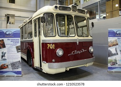 Moscow - September 29, 2012: Trolleybus SVARZ MTBES 701 at the international largest exhibition of vintage cars and technical Antiques. Public-event.