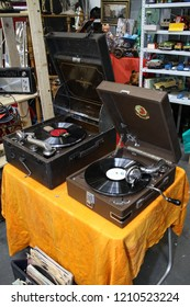 Moscow - September 29, 2012: Vintage gramophone at the international largest exhibition of vintage cars and technical Antiques. Public-event.