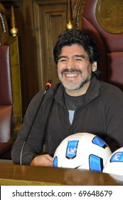 MOSCOW - SEPTEMBER 30: Footballer Diego Maradona at a friendly meeting on September, 30, 2010 in Moscow, Russia