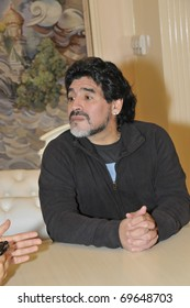 MOSCOW - SEPTEMBER 30: Footballer Diego Maradona at a friendly meeting on September, 30, 2010, in Moscow, Russia
