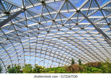 Moscow - September 4, 2018: Under the glass dome of the amphitheater in the Zaryadye Park in Moscow
