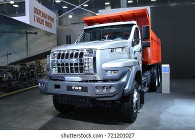 MOSCOW - SEPTEMBER 8, 2017: Dump truck Ural C25.330 at the exhibition of Commercial Transport ComTrans 2017. Public-event.