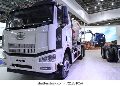 MOSCOW - SEPTEMBER 8, 2017: Faw truck at the exhibition of Commercial Transport ComTrans 2017. Public-event.