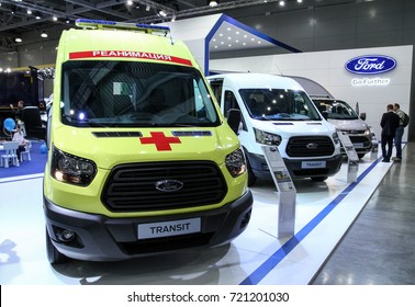 MOSCOW - SEPTEMBER 8, 2017: Ford Transit ambulance at the exhibition of Commercial Transport ComTrans 2017. Public-event.