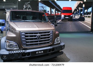 MOSCOW - SEPTEMBER 8, 2017: GAZ Next at the exhibition of Commercial Transport ComTrans 2017. Public-event.