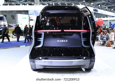 MOSCOW - SEPTEMBER 8, 2017: Kamaz Shutle Nami bus with artificial intelligence at the exhibition of Commercial Transport ComTrans 2017. Public-event.