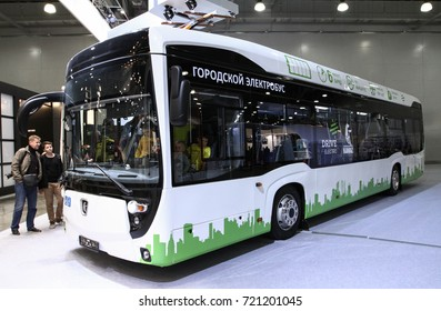 MOSCOW - SEPTEMBER 8, 2017: Kamaz Electrobus 6282 at the exhibition of Commercial Transport ComTrans 2017. Public-event.