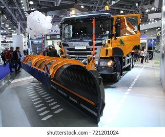 MOSCOW - SEPTEMBER 8, 2017: Scania P400 at the exhibition of Commercial Transport ComTrans 2017. Public-event.