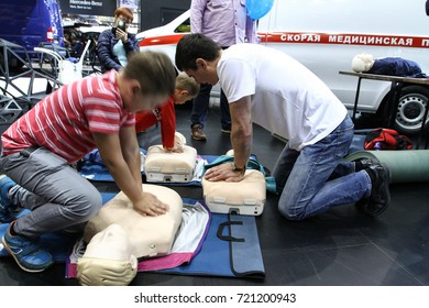MOSCOW - SEPTEMBER 8, 2017: Training dummy used by paramedic trainees at the exhibition of Commercial Transport ComTrans 2017. Public-event.