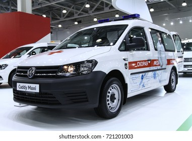 MOSCOW - SEPTEMBER 8, 2017: VW Caddy Maxi ambulance at the exhibition of Commercial Transport ComTrans 2017. Public-event.