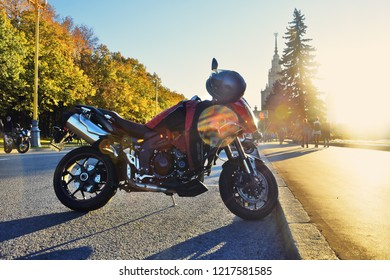 MOSCOW - SEPTEMBER13, 2018: Bikers close the season before winter, they ride bikes on Vorobyovy Hills in Moscow. Free entrance public event. Color photo.