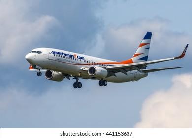 Moscow, Sheremetyevo airport - June 19, 2016: Boeing 737-800 Smart Wings OK-TVJ landing at Moscow Sheremetyevo Internatioanl airport.