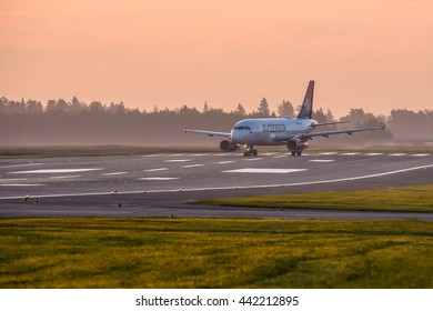 Moscow, Sheremetyevo airport, Russia - June 04, 2016: Airbus A319 YU-APF Air Serbia taxiing for take off at Sheremetyevo international airport at sunrise