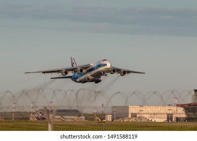 Moscow, Sheremetyevo International Airport, Russia - Aug 28, 2019: Antonov An-124-100 RA-82043 AirBridge Cargo takeoff at Sheremetyevo International Airport