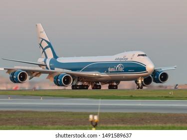 Moscow, Sheremetyevo International Airport, Russia - Aug 23, 2019: Boeing 747-8F VQ-BRJ AirBridge Cargo landing at Sheremetyevo International Airport