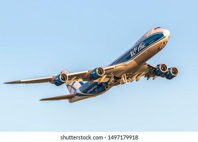 Moscow, Sheremetyevo International Airport, Russia - Aug 23, 2019: Boeing 747-8 VP-BJS AirBridge Cargo takeoff at Sheremetyevo International Airport
