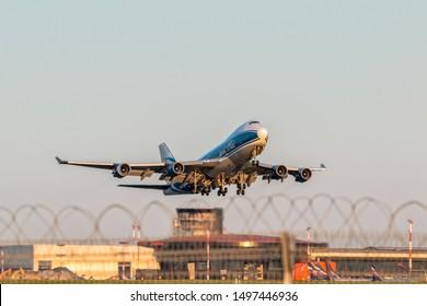 Moscow, Sheremetyevo International Airport, Russia - Aug 23, 2019: Boeing 747-400F VQ-BIA AirBridge Cargo takeoff at Sheremetyevo International Airport