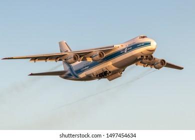 Moscow, Sheremetyevo International Airport, Russia - Aug 23, 2019: Antonov An-124-100 RA-82043 AirBridge Cargo Airlines takeoff at Sheremetyevo International Airport