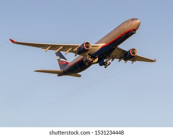 Moscow, Sheremetyevo International Airport, Russia - Aug 23, 2019: Airbus A330-343 VQ-BMV Aeroflot Russian Airlines takeoff at Sheremetyevo International Airport