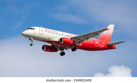 Moscow, Sheremetyevo International Airport, Russia - Mar 04, 2021: Sukhoi Superjet 100 RA-89116 Rossiya airlines landing at Sheremetyevo International Airport