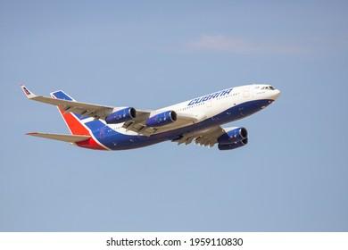 Moscow, Sheremetyevo International Airport, Russia - Apr 18, 2021: Ilyushin Il-96-300 CU-T1251 Cubana airlines takeoff at Sheremetyevo airport at sunrise