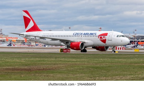 Moscow, Sheremetyevo International Airport, Russia - Apr 25, 2021: Airbus A320-200 OK-HEU Czech airlines taxing at Sheremetyevo International Airport