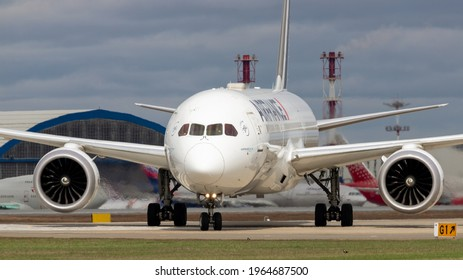 Moscow, Sheremetyevo International Airport, Russia - Apr 25, 2021: Boeing 787-9 Dreamliner F-HRBA Air France taxing at Sheremetyevo International Airport