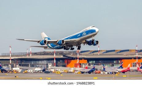 Moscow, Sheremetyevo International Airport, Russia - Apr 18, 2021: Boeing 747-8F VP-BIN Air Bridge Cargo airlines takeoff at Sheremetyevo International Airport