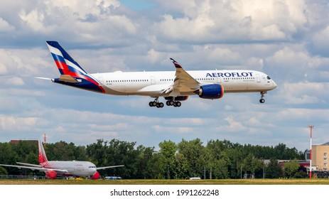 Moscow, Sheremetyevo International Airport, Russia - June 02, 2021: Airbus A350-900 VP-BXA Aeroflot Russian Airlines landing at Sheremetyevo International Airport