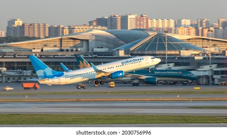 Moscow, Sheremetyevo International Airport, Russia - Aug 14, 2021: Boeing 737-800 VP-BFB Pobeda Airlines takeoff at Sheremetyevo International Airport