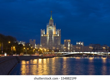 Moscow, skyscraper (high rise building) on Kotelnicheskaya quay of Moscow-river at night.