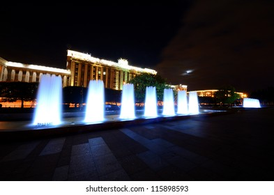 Moscow square in Saint-Petersburg by night