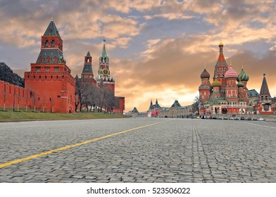 Moscow. St. Basil's Cathedral and Spasskaya tower of the Kremlin