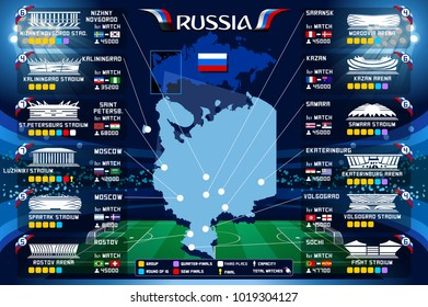 Moscow stadium Russia 2018 soccer stadium map and infographics illustration. Soccer world tournament in Russian. World football cup.