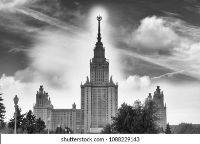 Moscow State University building in Russian capital front view in winter day.