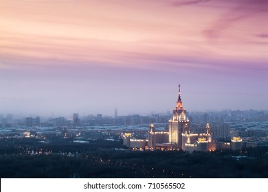 Moscow State University at evening during sunset in Moscow, Russia