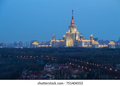 Moscow State University, Guest houses of Federal Security Service in foreground at night in Moscow, Russia