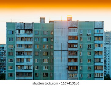 Moscow suburbs during sunset: USSR buildings