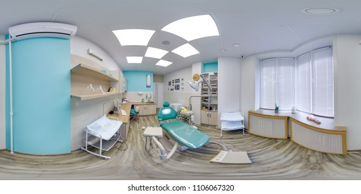 MOSCOW - SUMMER 2018, 3D spherical panorama with 360 viewing angle of the green dental office. Ready for virtual reality. Full equirectangular projection.  Dental clinic. Blue color.