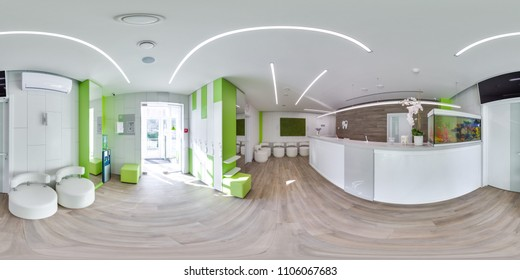 MOSCOW - SUMMER 2018, 3D spherical panorama with 360 viewing angle of the green modern dental office. Ready for virtual reality. Full equirectangular projection.  Dental clinic. Reception. Green color