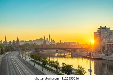 Moscow sunrise city skyline at Kremlin Palace Red Square and Moscow River, Moscow, Russia