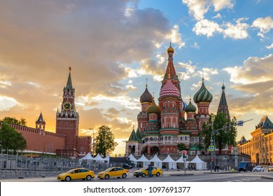 Moscow sunset city skyline at Red Square, Moscow, Russia
