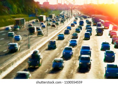 Moscow traffic jam dramatic light leak illustration background